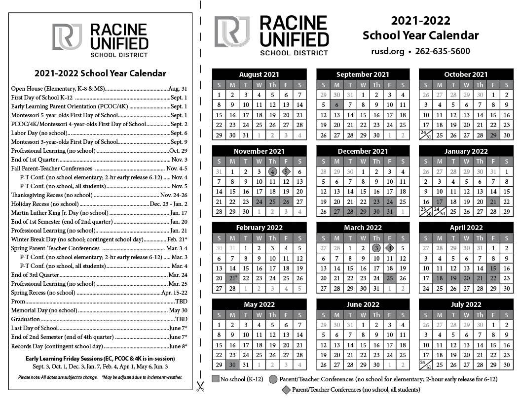 Tusd Calendar 2022.District Calendar Rusd