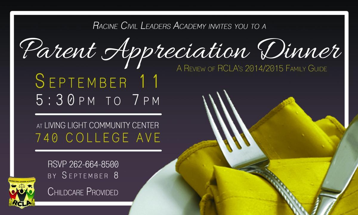 RCLA Parent Appreciation Dinner   Racine Unified School District