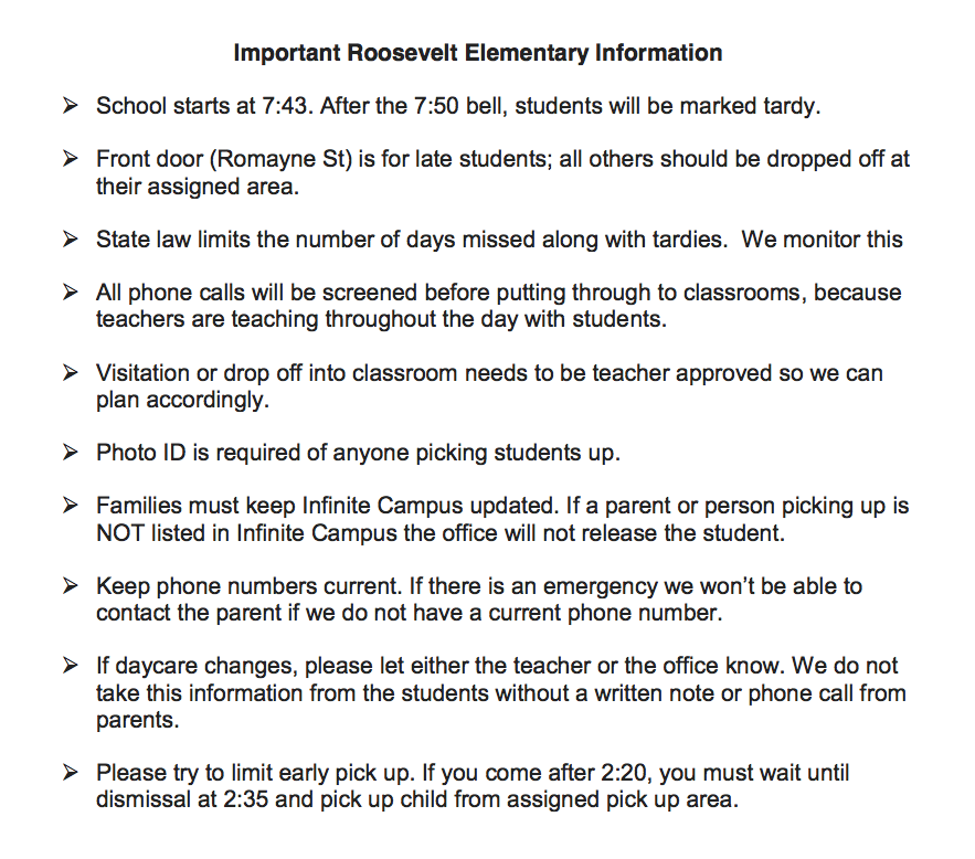 Important Pick Up Drop Off Information About Our School Policies