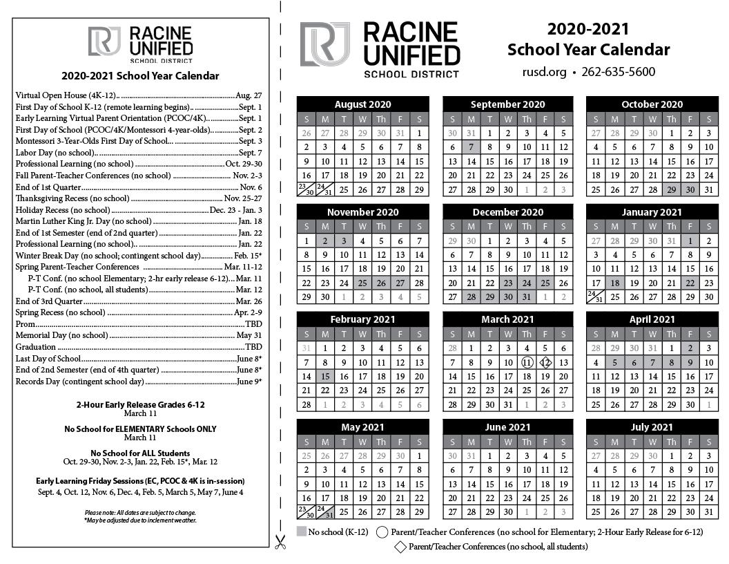 Rusd Calendar 2021-2022 Select a Calendar   Racine Unified School District