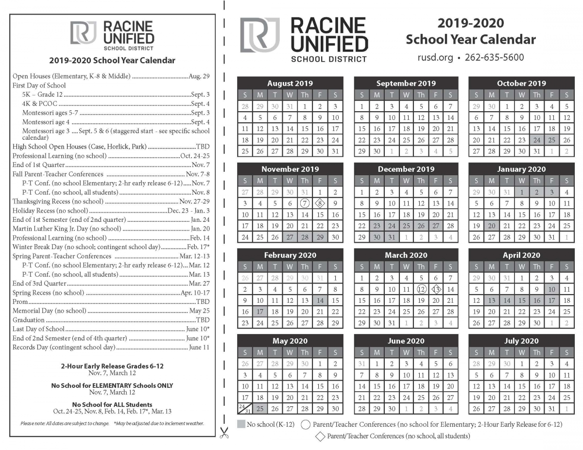 Sept Calendar 2020.Select A Calendar Racine Unified School District