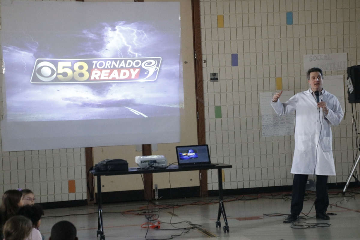 CBS 58 Meteorologist Presents Weather Safety to Dr  Jones Elementary